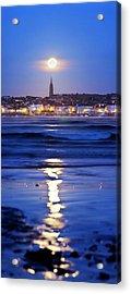 Full Moon Over Coastal Town Acrylic Print