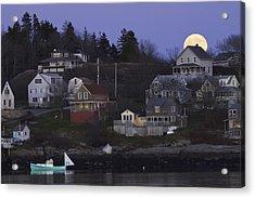 Full Moon Over Georgetown Island Maine Acrylic Print by Keith Webber Jr