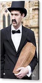 Funeral Director With Coffin Acrylic Print by Jorgo Photography - Wall Art Gallery