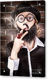 Funny Private Eye Detective Smoking Pipe Acrylic Print by Jorgo Photography - Wall Art Gallery