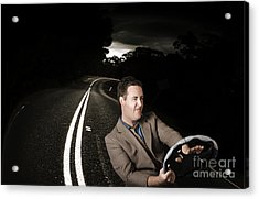 Funny Road Rage Man In Car Accident Acrylic Print by Jorgo Photography - Wall Art Gallery