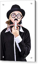 Funny Woman Eating Toy Plane Acrylic Print by Jorgo Photography - Wall Art Gallery