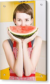 Funny Woman With Juicy Fruit Smile Acrylic Print by Jorgo Photography - Wall Art Gallery