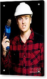 Furious Out Of Control Construction Site Worker Acrylic Print by Jorgo Photography - Wall Art Gallery