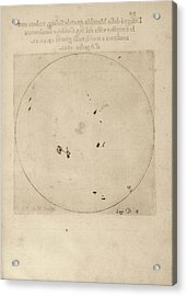 Galileo's Observation Of Sunspots Acrylic Print by Library Of Congress