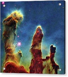 Gas Pillars In The Eagle Nebula Acrylic Print by Nasaesastscij.hester & P.scowen, Asu