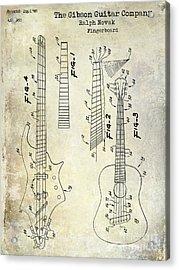 Gibson Guitar Patent Drawing Acrylic Print by Jon Neidert