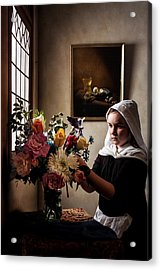 Acrylic Print featuring the photograph Girl Arranging A Flower Bouquet In A Glass Vase by Levin Rodriguez