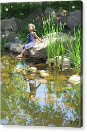 Girl At The Pond Acrylic Print by Michael Malicoat