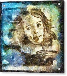 Girl In Blue Acrylic Print by Jennifer Woodworth