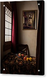 Acrylic Print featuring the photograph Girl Read A Letter At An Open Window by Levin Rodriguez