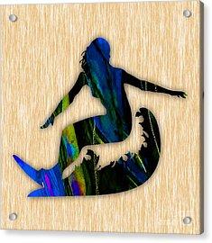 Girl Surfer Art Acrylic Print