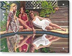 Girl Talk Acrylic Print by David Linton