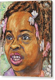 Girl With Dread Locks Acrylic Print by Xueling Zou