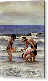 Girls At The Beach Acrylic Print by Sam Sidders