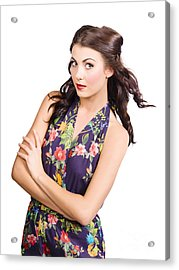 Glamour Portrait Of Beautiful Woman Makeup Model Acrylic Print