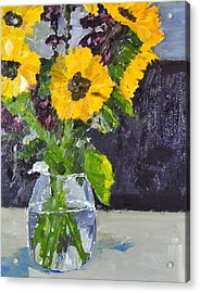 Acrylic Print featuring the painting Glorious Sunflowers by MaryAnne Ardito
