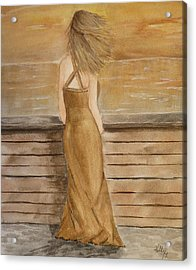 Acrylic Print featuring the painting Golden Breeze by Kelly Mills