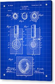 Golf Ball Patent 1902 - Blue Acrylic Print by Stephen Younts