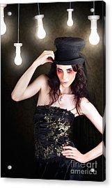 Gorgeous Female Fashion Model Wearing Top Hat Acrylic Print
