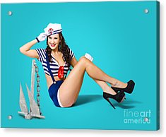Gorgeous Pin Up Sailor Girl Wearing Hat Acrylic Print