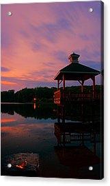 Gorton Pond Sunset Warwick Rhode Island Acrylic Print by Lourry Legarde