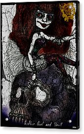 Gothic Girl And Skull Acrylic Print by Akiko Okabe