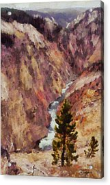 Acrylic Print featuring the painting Grand Canyon Of The Yellowstone by Kai Saarto