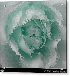 Granny's Rose Teal Acrylic Print by Holley Jacobs