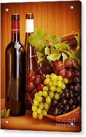 Grape Wine Still Life Acrylic Print by Anna Om
