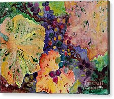 Acrylic Print featuring the painting Grapes And Leaves by Karen Fleschler