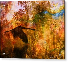 Acrylic Print featuring the digital art Great Blue Heron Abstract by J Larry Walker