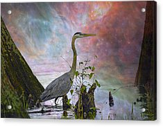 Acrylic Print featuring the digital art Great Blue Heron In A Heavenly Mist by J Larry Walker