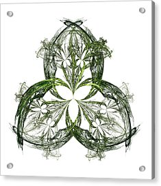 Green Irish Shamrock Fractal Motif Acrylic Print by Jane McIlroy