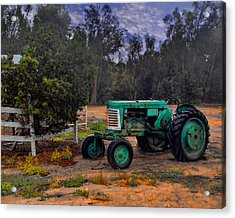 Green Oliver Tractor Acrylic Print