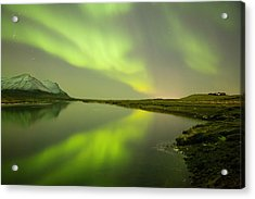 Green Reflection Acrylic Print by Thorir Bjorgvinsson
