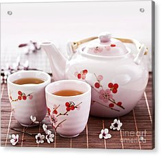 Green Tea Set Acrylic Print