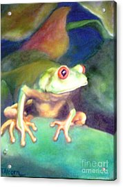 Acrylic Print featuring the painting Green Tree Frog - Original Sold by Therese Alcorn
