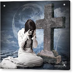 Grieving Gothic Girl Crying Next To Gravestone Acrylic Print