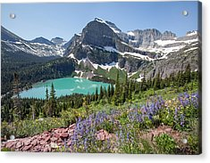 Grinnell Lake Flowers Acrylic Print