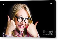 Grinning Geek With Thumbs Up To Cheeky Business Acrylic Print by Jorgo Photography - Wall Art Gallery