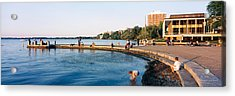 Group Of People At A Waterfront, Lake Acrylic Print by Panoramic Images