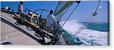 Group Of People Racing In A Sailboat Acrylic Print by Panoramic Images
