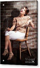 Grunge Girl Smoking Cigarette In Dark Interior Acrylic Print