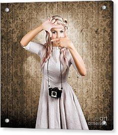 Grunge Girl With Retro Film Camera Concept Framing Acrylic Print