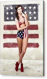 Grunge Pin Up Woman In American Fashion Style Acrylic Print by Jorgo Photography - Wall Art Gallery