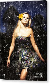Grunge Portrait Of Sexy Woman In Rain Acrylic Print by Jorgo Photography - Wall Art Gallery