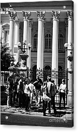 guided tour group outside the former national congress building Santiago Chile Acrylic Print by Joe Fox