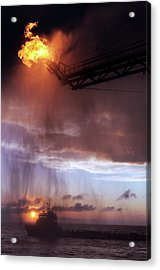 Gulf Of Mexico Oil Spill Flaring Acrylic Print