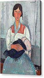 Gypsy Woman With Baby Acrylic Print by Amedeo Modigliani